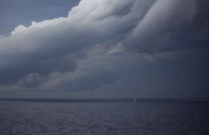 A beachside storm approaching