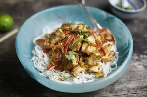 Korean stir-fried chicken with noodles